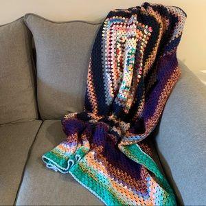 Vintage Granny Afghan Crocheted Throw Blanket